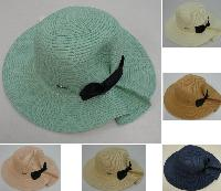 Ladies Woven Summer Hat [Puckered Back w Bow]